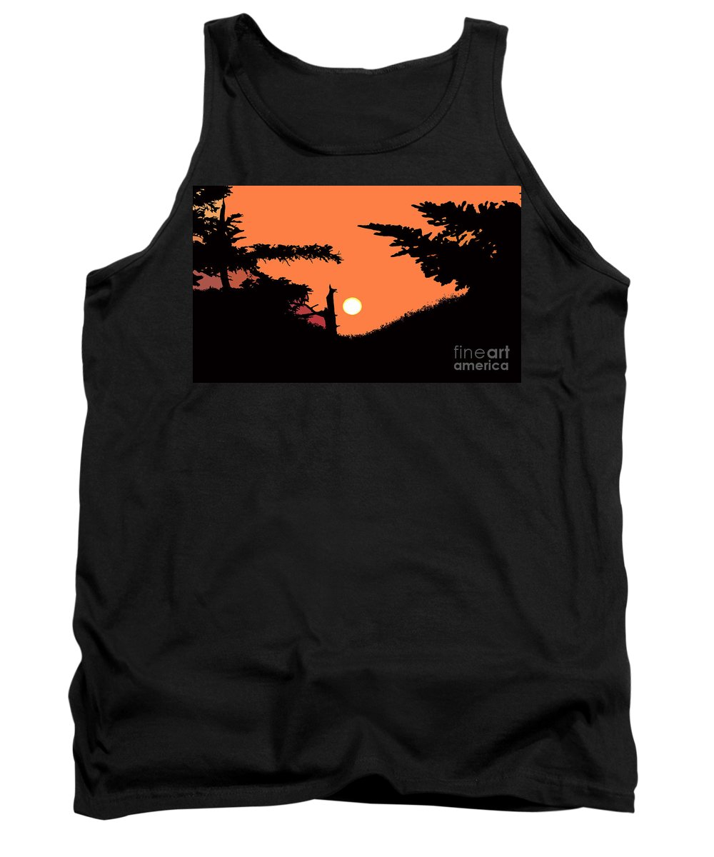 Sunset Tank Top featuring the painting Sunset by David Lee Thompson