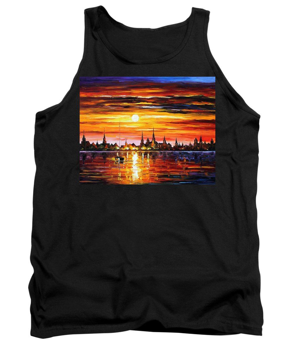 Afremov Tank Top featuring the painting Sunset In Barcelona by Leonid Afremov