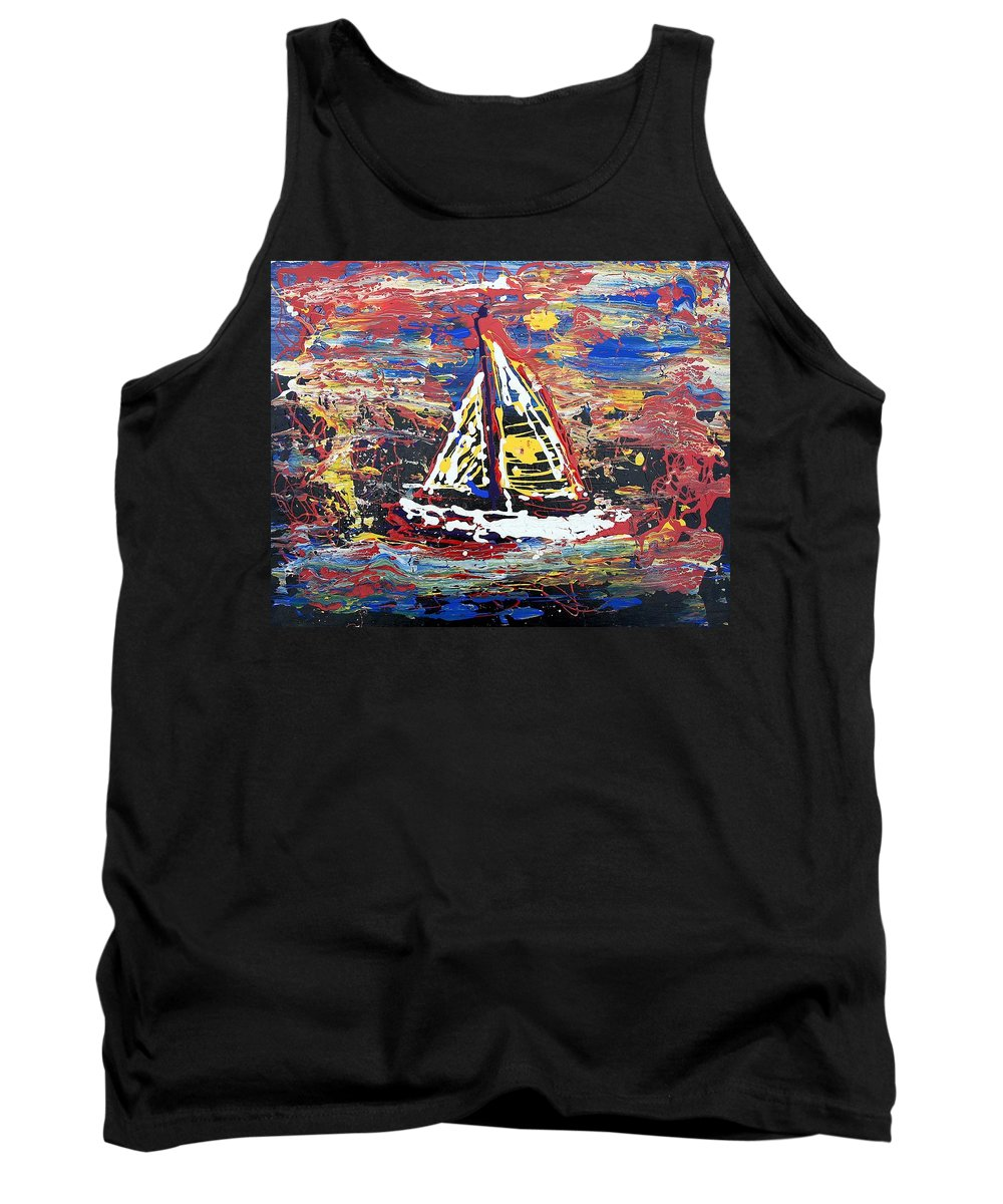 Sailboat Tank Top featuring the painting Sunset On The Lake by J R Seymour