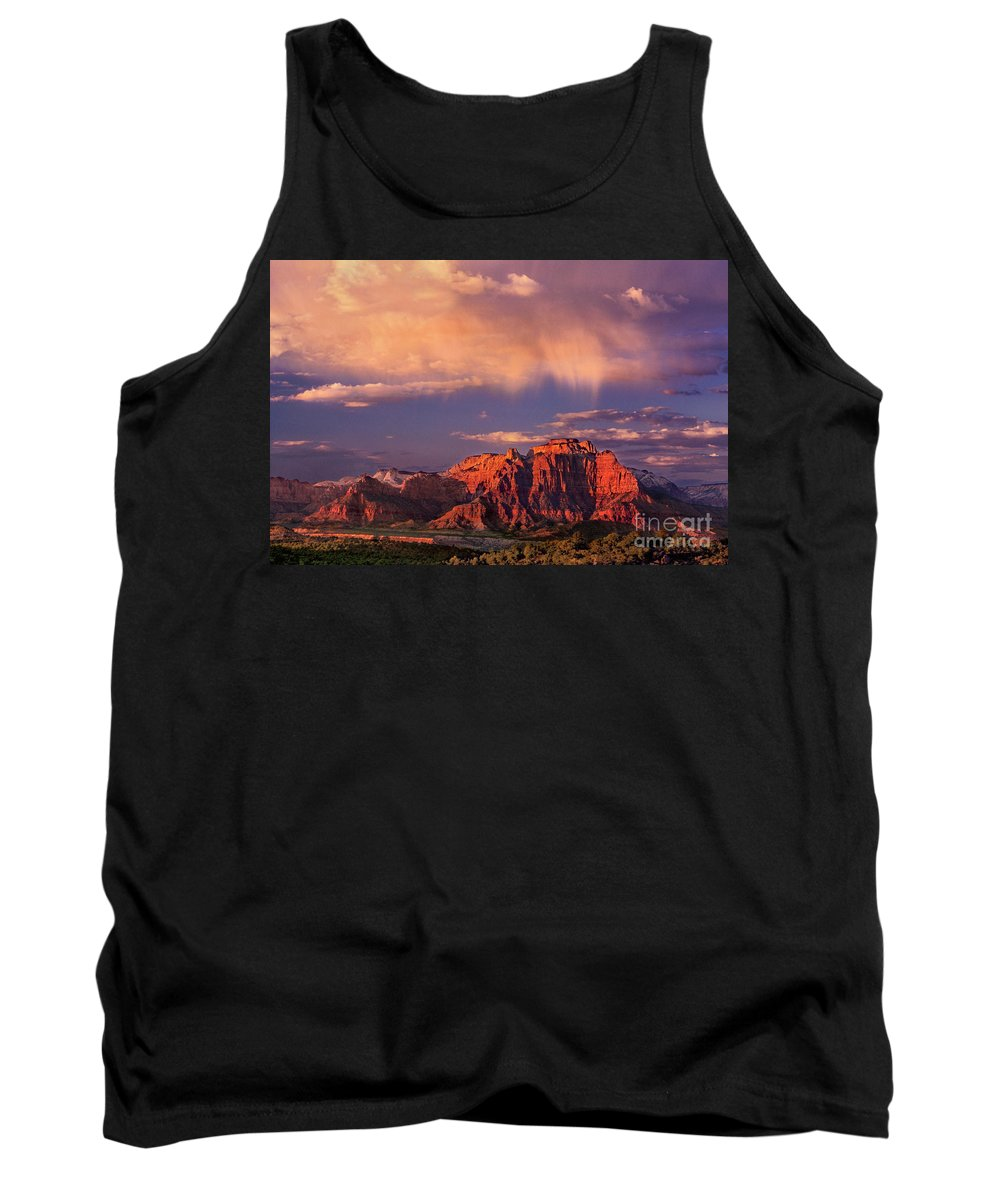 North America Tank Top featuring the photograph Sunset On West Temple Zion National Park by Dave Welling