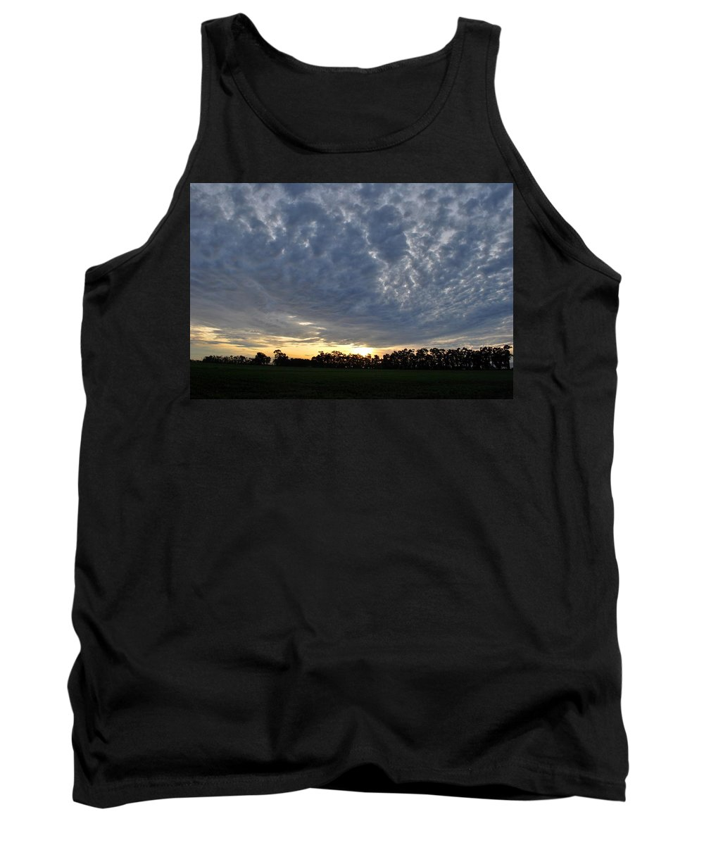 Tree Tank Top featuring the photograph Sunset Over Farm And Trees - Distant View by Matt Harang