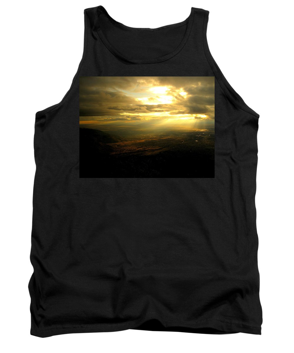 Sunset Tank Top featuring the photograph Sunset Over Sandia Mountain by Debbie Karnes