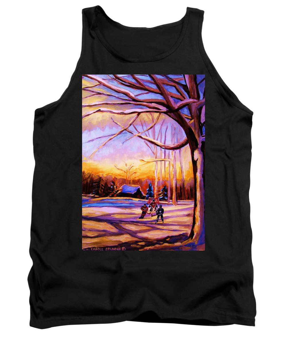 Sunset Over Hockey Tank Top featuring the painting Sunset Over The Hockey Game by Carole Spandau