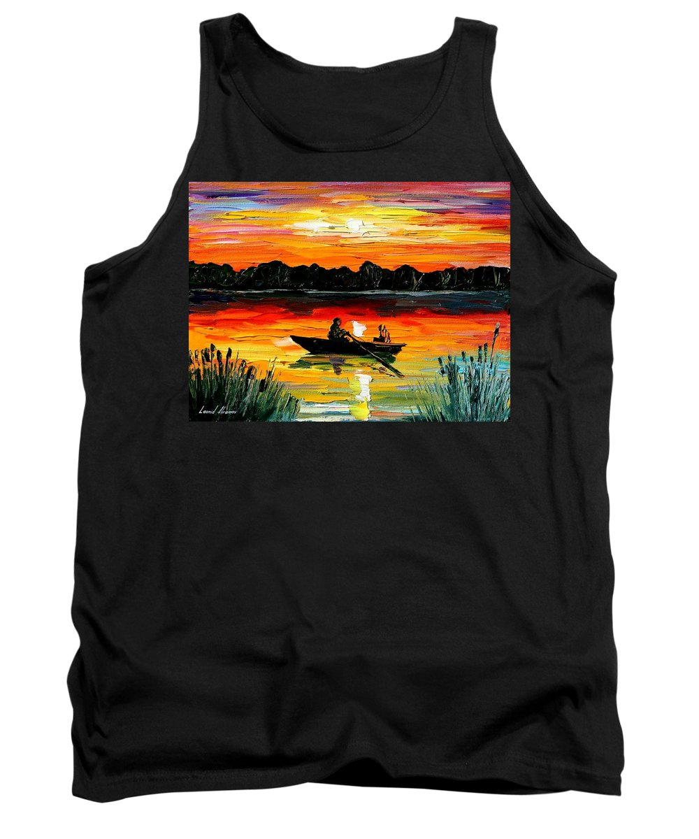 Boat Tank Top featuring the painting Sunset Over The Lake by Leonid Afremov