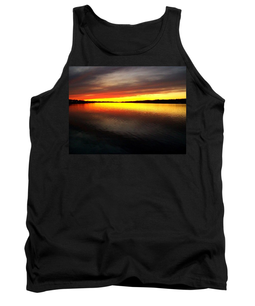 Gold Tank Top featuring the photograph Sunset Over The Lake by Michelle Calkins