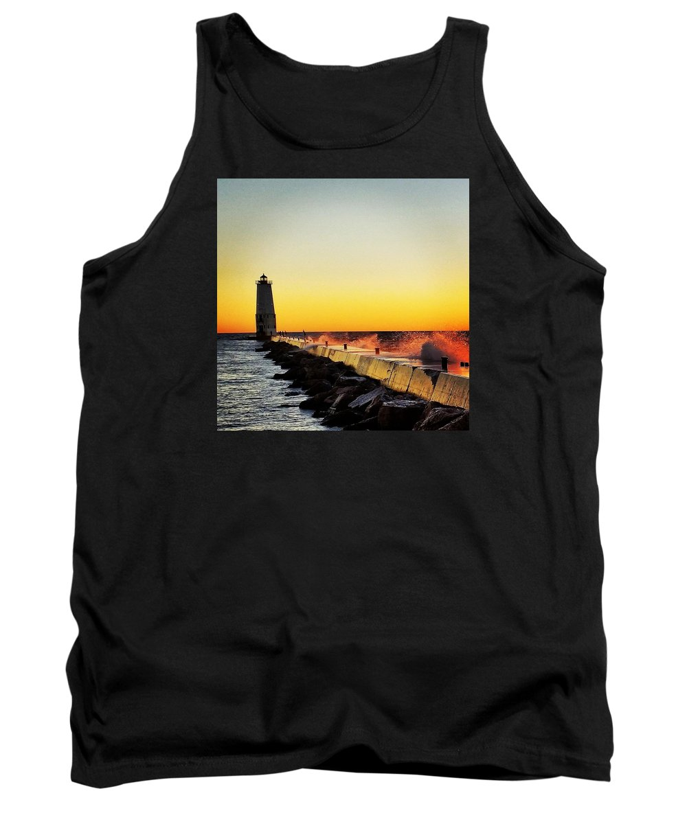 Lighthouse Tank Top featuring the photograph Sunset Photography by Melissa Hammock