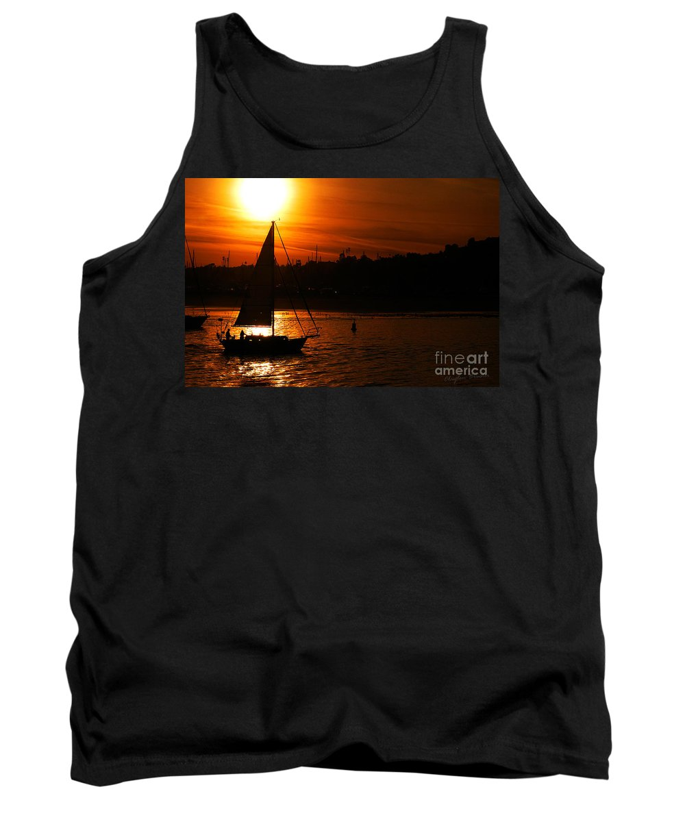 Clay Tank Top featuring the photograph Sunset Sailing by Clayton Bruster