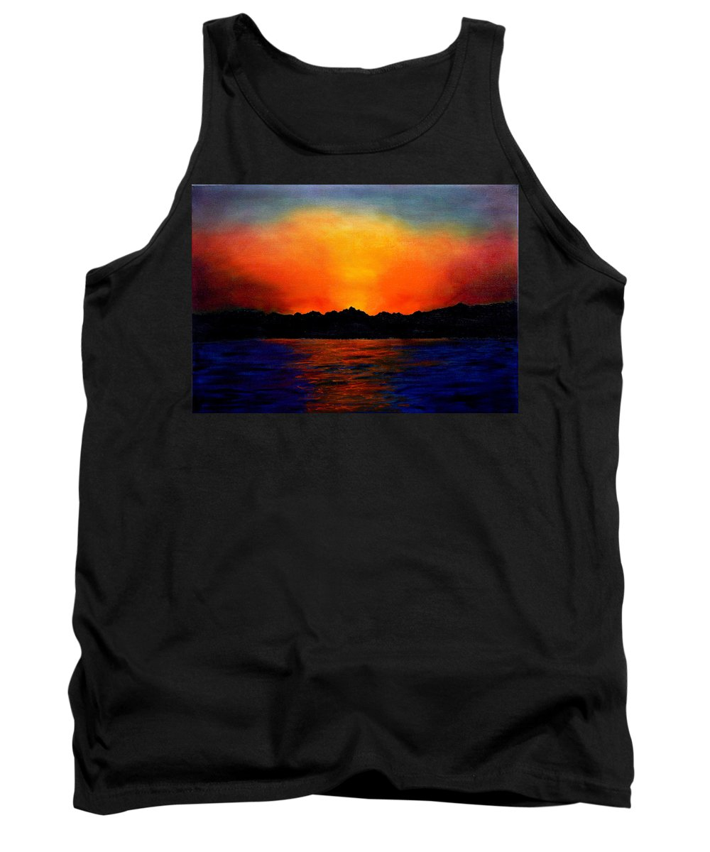 Sinai Sunset Tank Top featuring the painting Sunset Sinai by Helmut Rottler