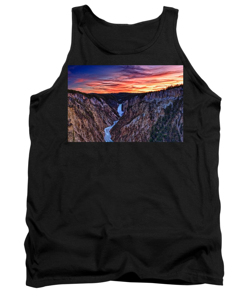 Nature Tank Top featuring the photograph Sunset Waterfall by John K Sampson