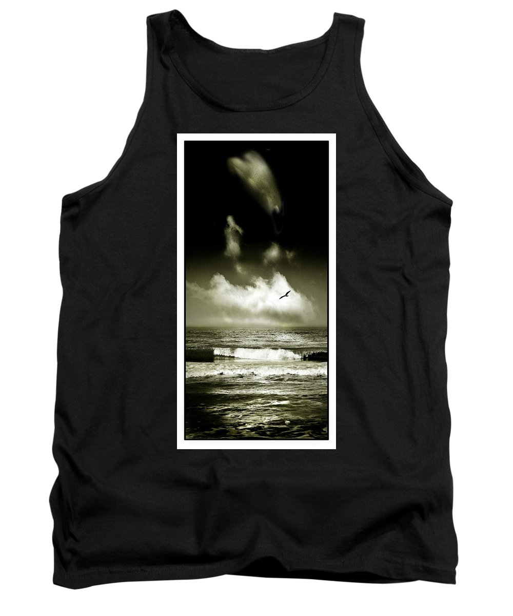 Waves Tank Top featuring the photograph Surf And Sky At Rhos On Sea North Wales by Mal Bray