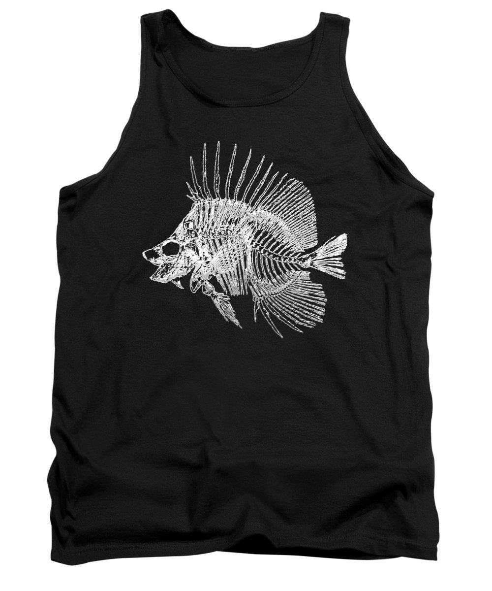 'precious Bones' Collection By Serge Averbukh Tank Top featuring the digital art Surgeonfish Skeleton In Silver On Black by Serge Averbukh