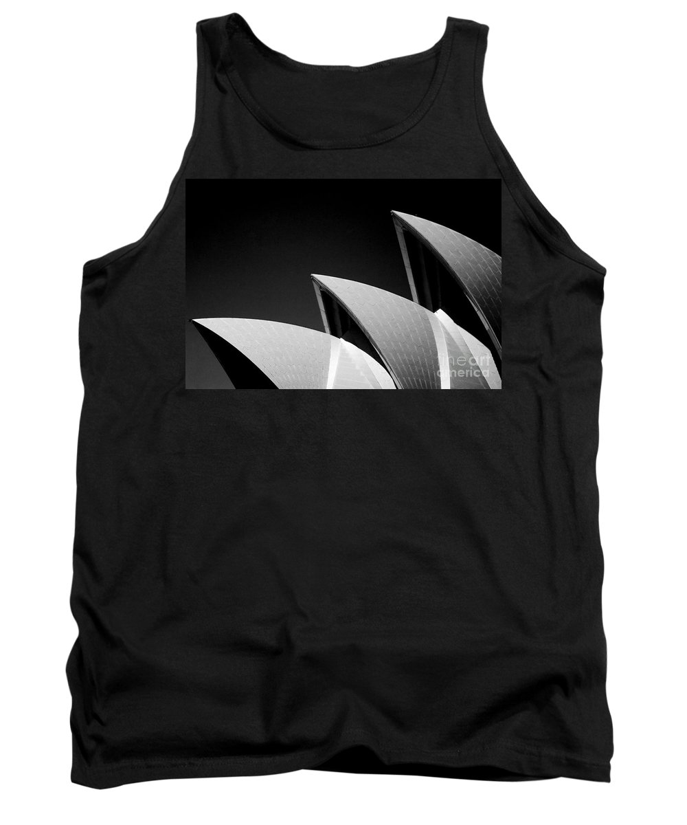Sydney Opera House Iconic Building Black And White Monochrome Tank Top featuring the photograph Sydney Opera House by Sheila Smart Fine Art Photography