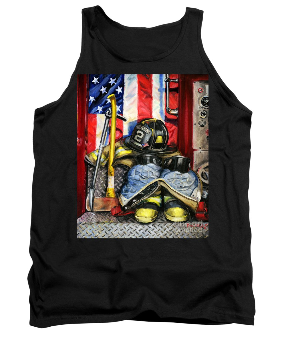 Firefighting Tank Top featuring the painting Symbols Of Heroism by Paul Walsh