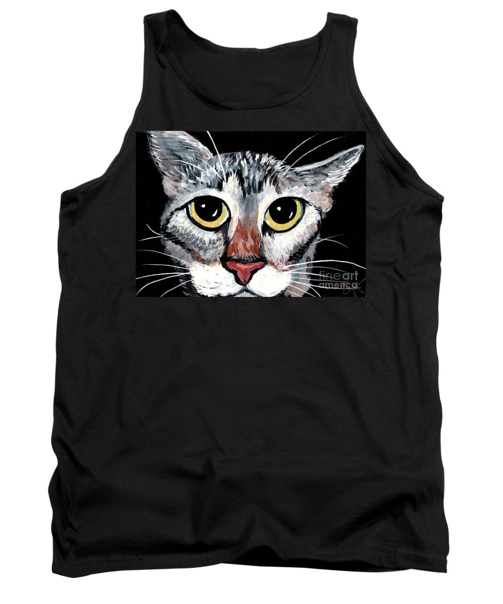 Cat Tank Top featuring the painting Tabby Eyes by Elaine Hodges