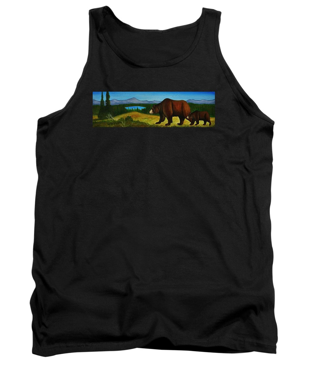 Grizzly Bear Tank Top featuring the painting Taggart Lake Bears by Lucy Deane