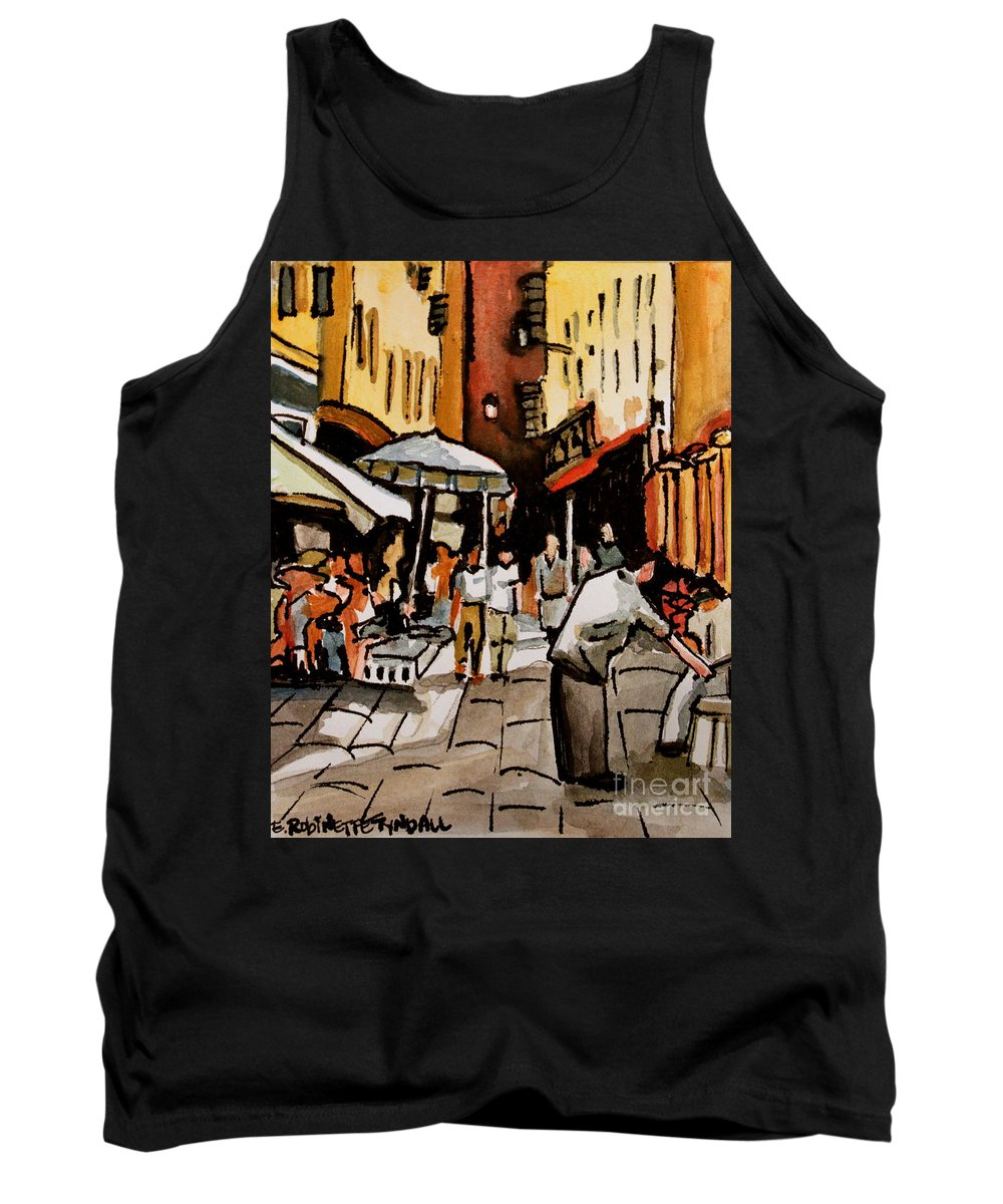 Downtown Tank Top featuring the painting Taking A Stroll Through Downtown by Elizabeth Robinette Tyndall