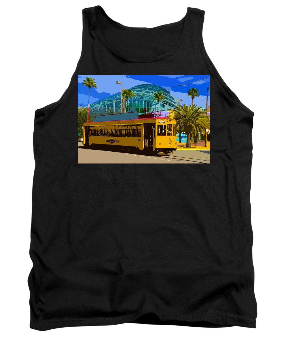 Tampa Tank Top featuring the painting Tampa Trolley by David Lee Thompson