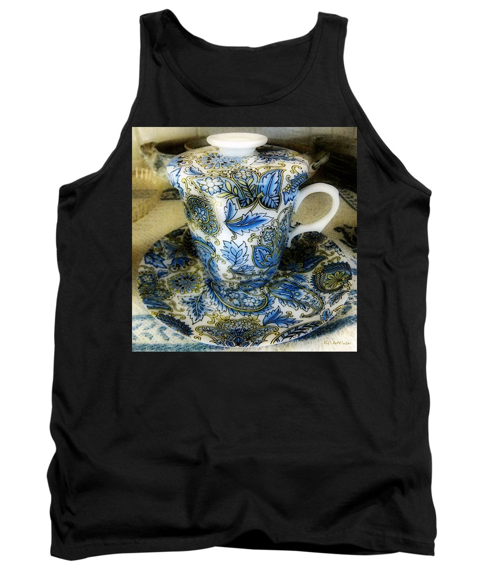 Asian Tank Top featuring the digital art Tea Is Served by RC DeWinter
