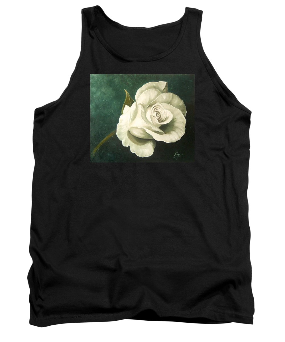 Rose Flower Still Life White Tank Top featuring the painting Tea Rose by Natalia Tejera