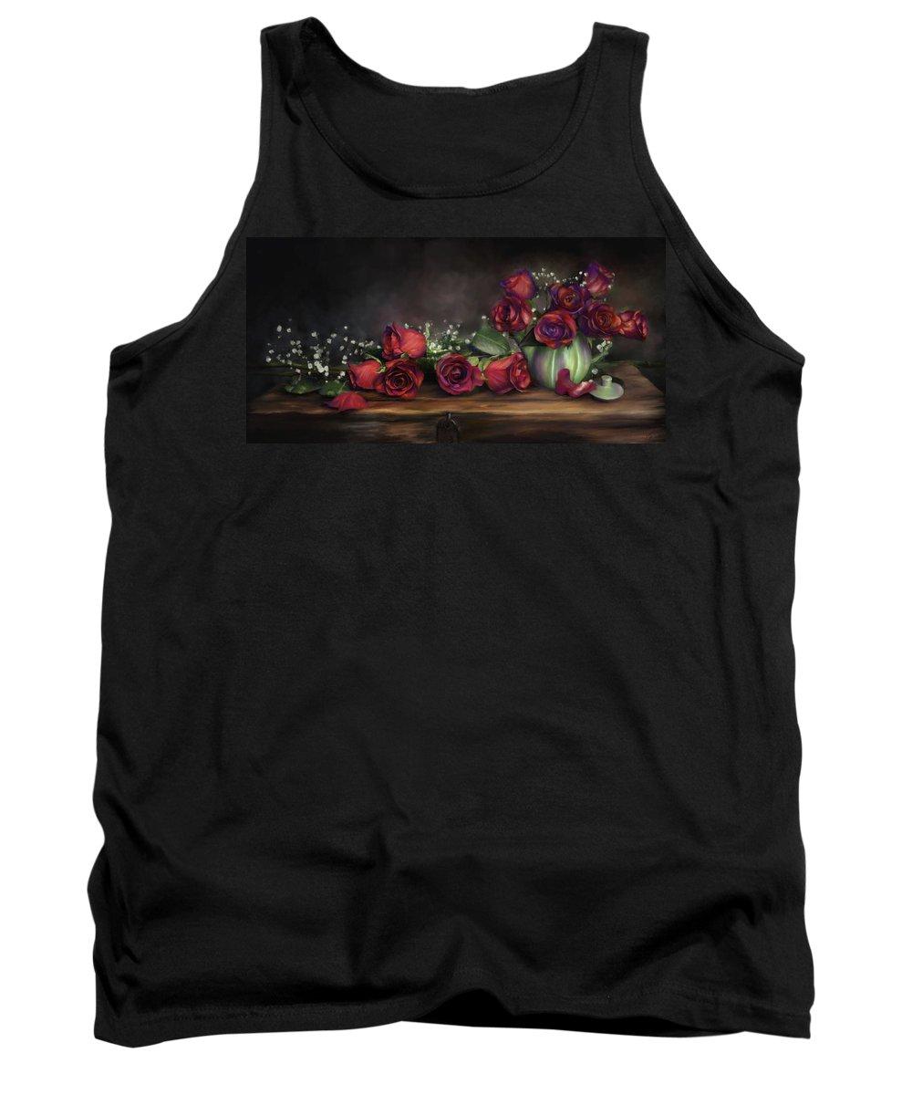 Digital Painting Tank Top featuring the digital art Teapot Roses by Susan Kinney