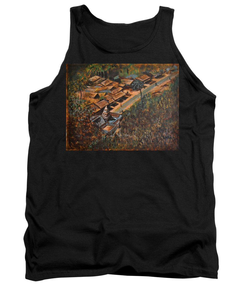 Temple Tank Top featuring the painting Temple Town by Usha Shantharam