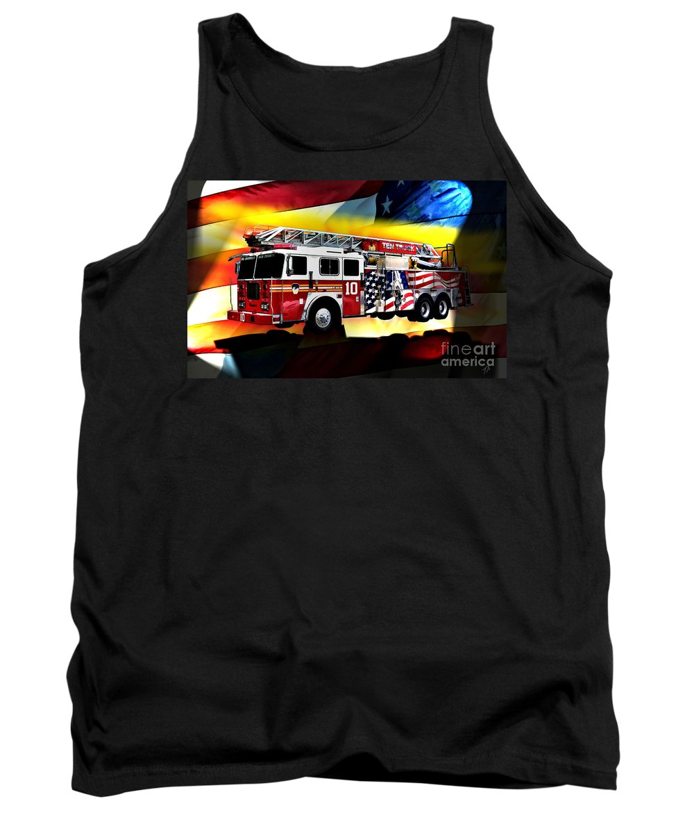 Seagrave Tank Top featuring the digital art Ten Truck Fdny by Tommy Anderson