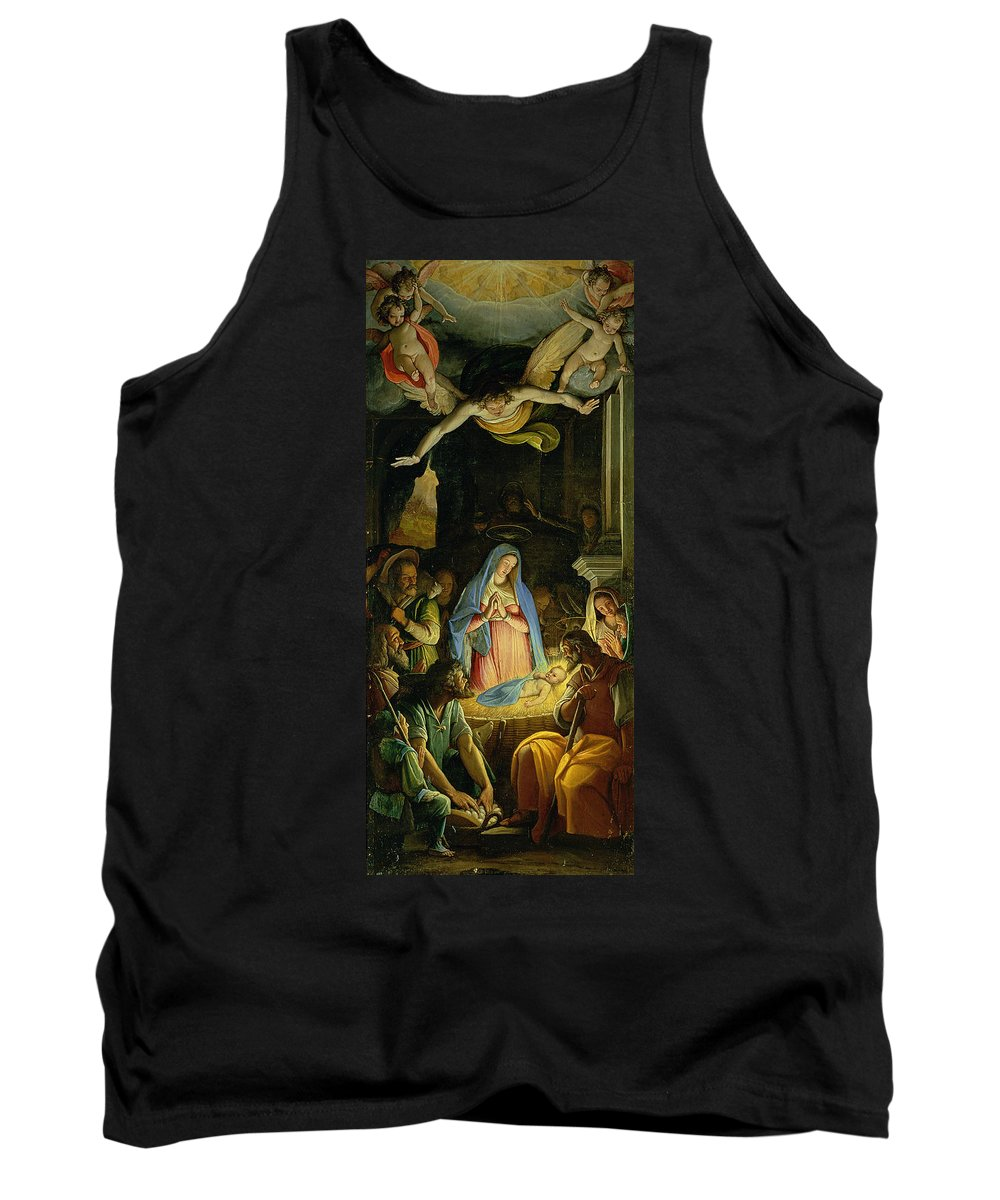 Christmas Tank Top featuring the painting The Adoration Of The Shepherds by Federico Zuccaro