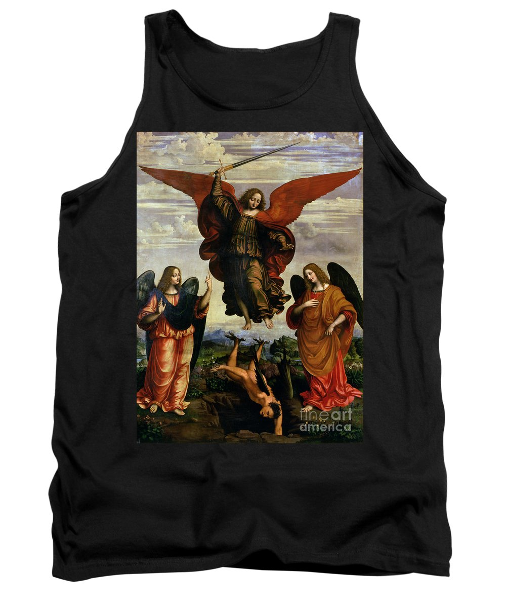 The Tank Top featuring the painting The Archangels Triumphing Over Lucifer by Marco DOggiono