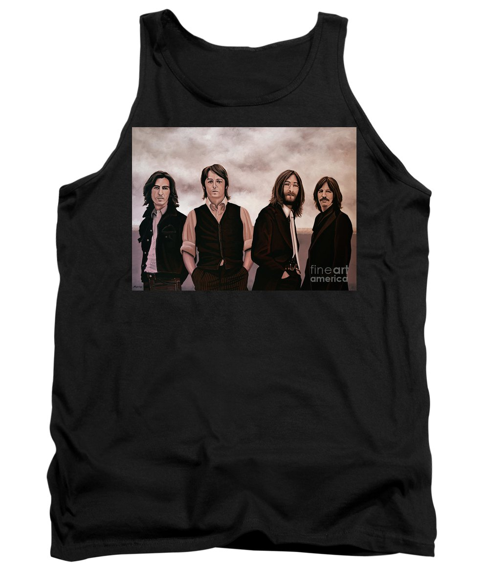 The Beatles Tank Top featuring the painting The Beatles 3 by Paul Meijering