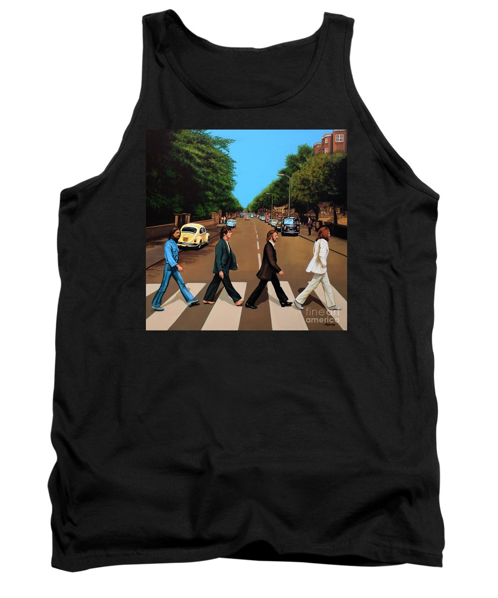 The Beatles Tank Top featuring the painting The Beatles Abbey Road by Paul Meijering