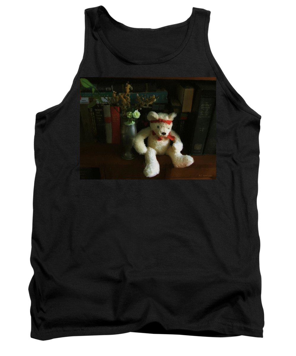 Bear Tank Top featuring the digital art The Book Bear by RC DeWinter