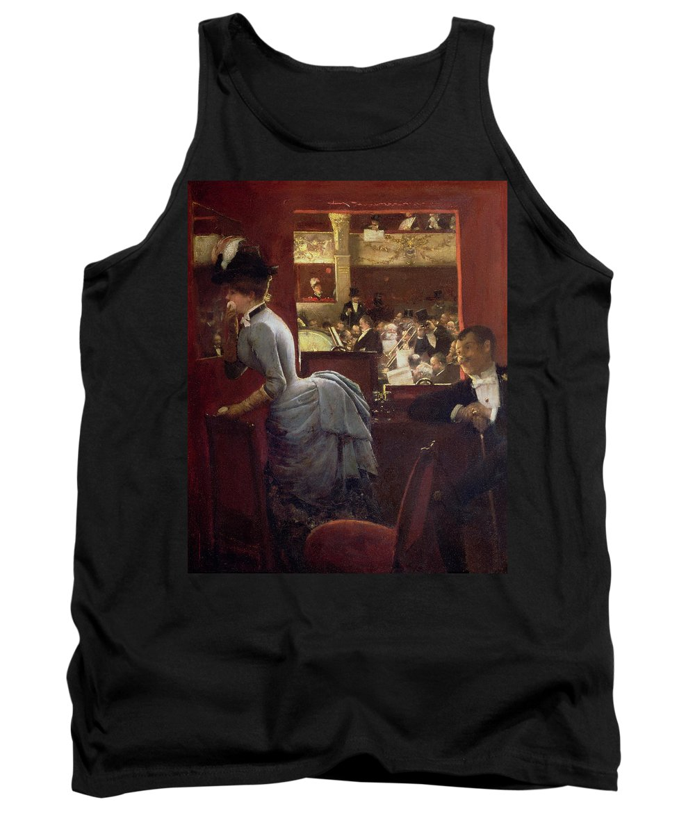 The Box By The Stalls Tank Top featuring the painting The Box By The Stalls by Jean Beraud
