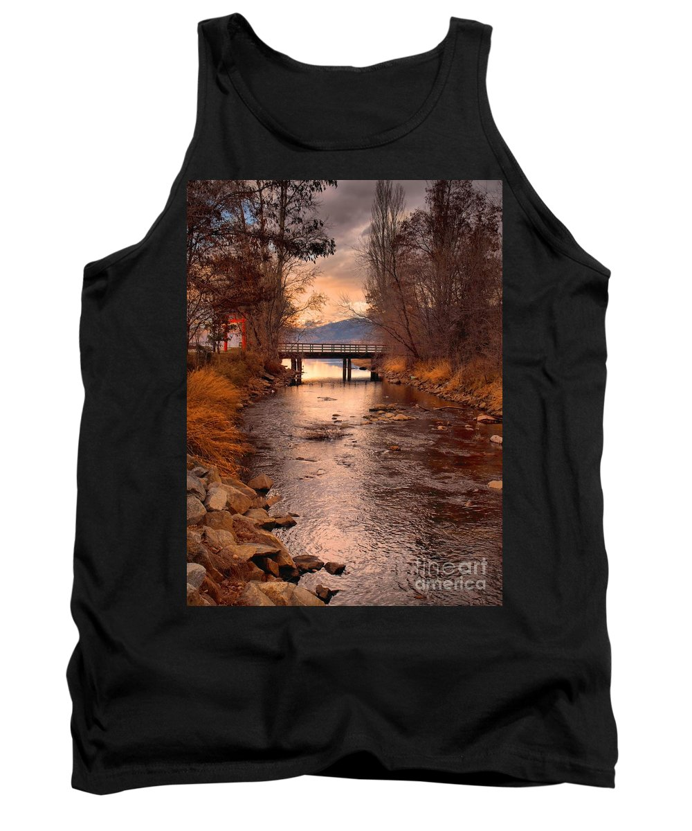 Bridge Tank Top featuring the photograph The Bridge By The Lake by Tara Turner
