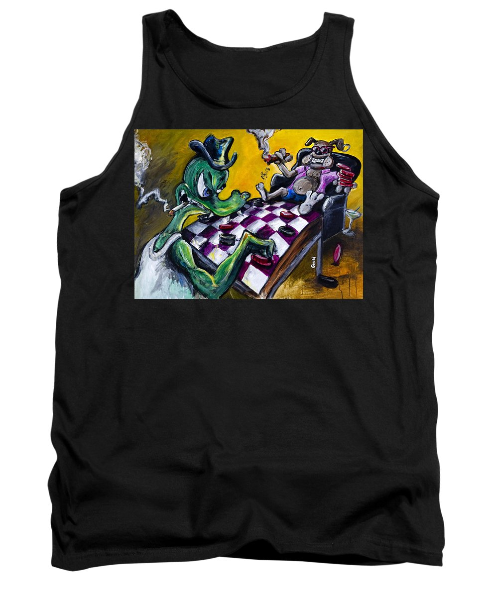 Checkers Tank Top featuring the painting The Checker Game by Jason Gluskin