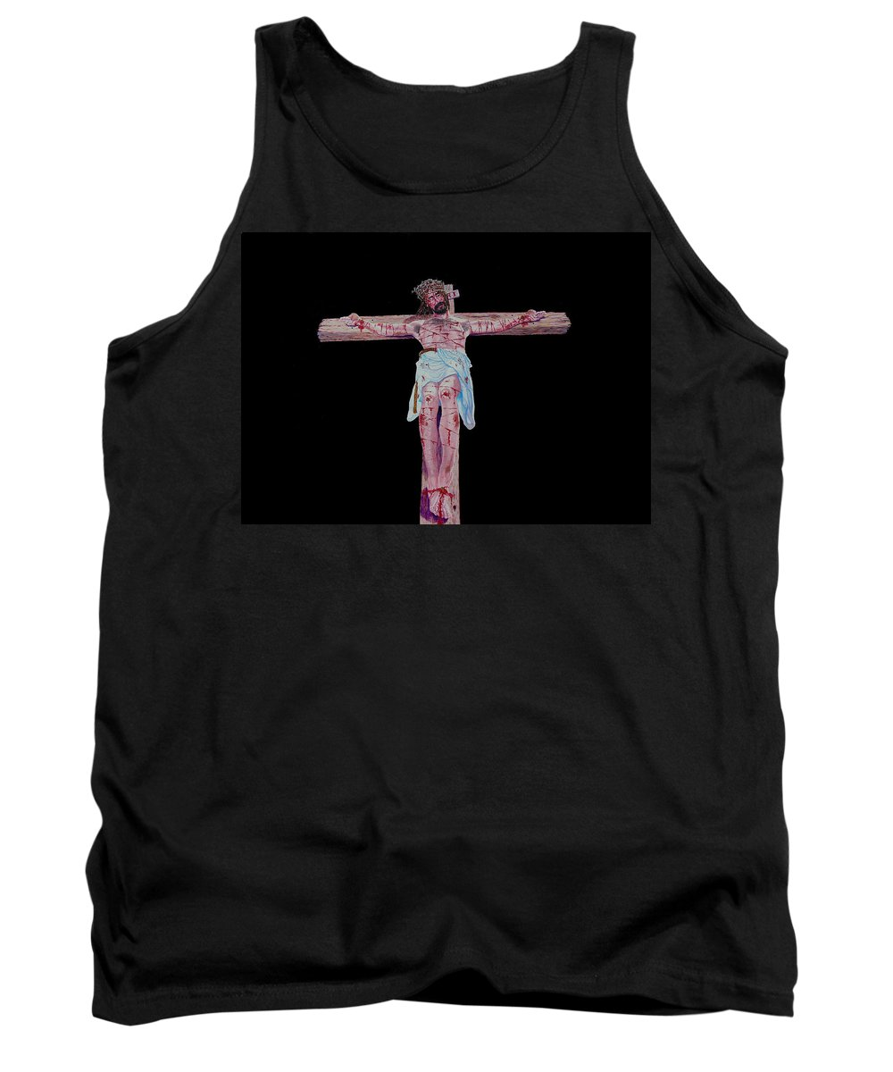 Crucifixion Tank Top featuring the painting The Crucifixion by Stan Hamilton