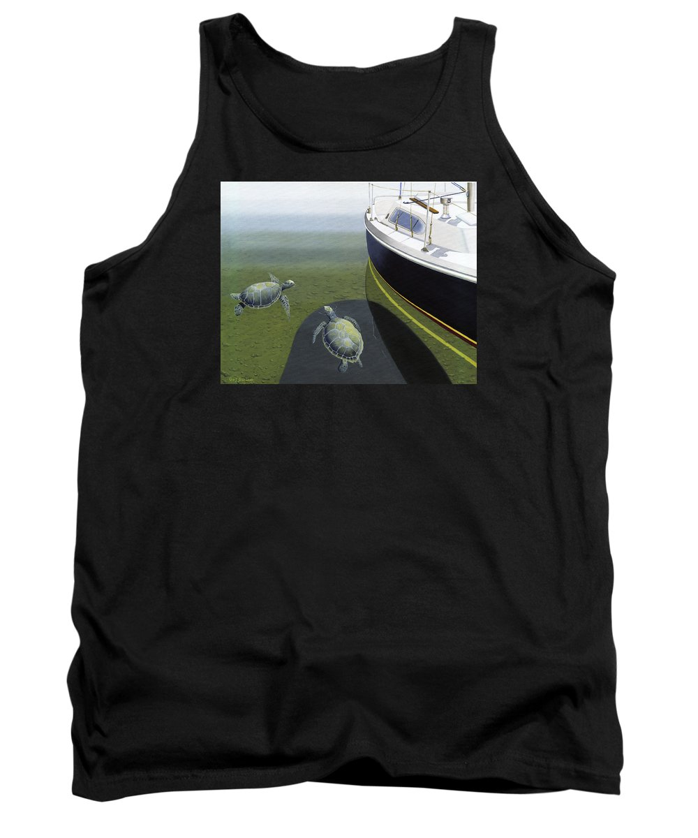 Sail Boat Tank Top featuring the painting The Curiosity Of Sea Turtles by Gary Giacomelli