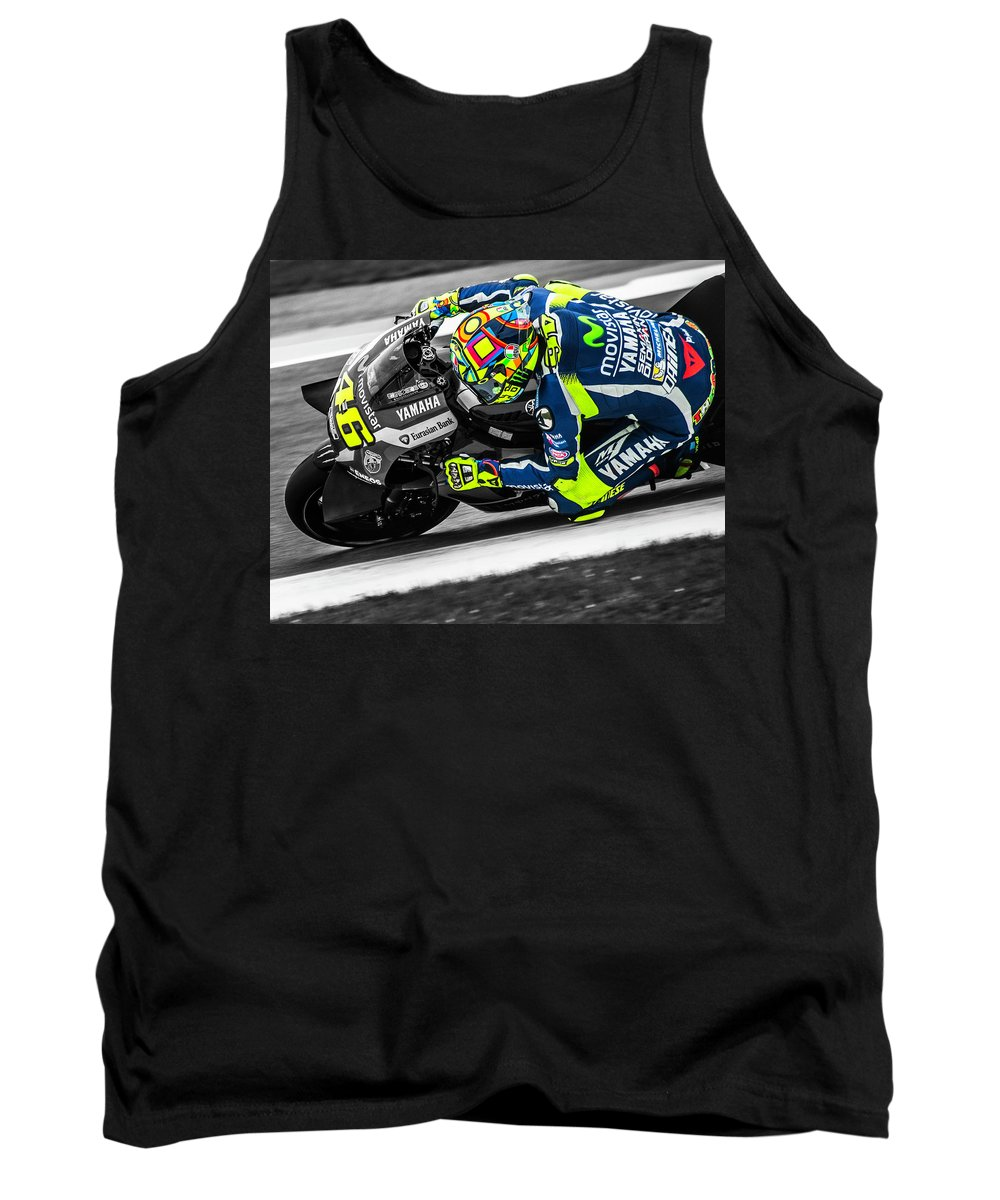 Motogp Tank Top featuring the digital art The Doctor At Assen by Liam Loughlin
