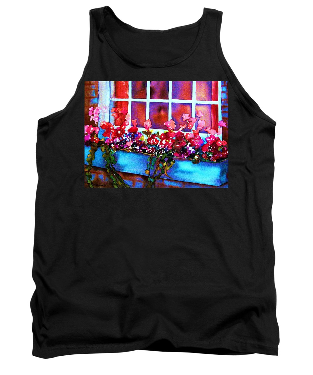 Flowerbox Tank Top featuring the painting The Flowerbox by Carole Spandau