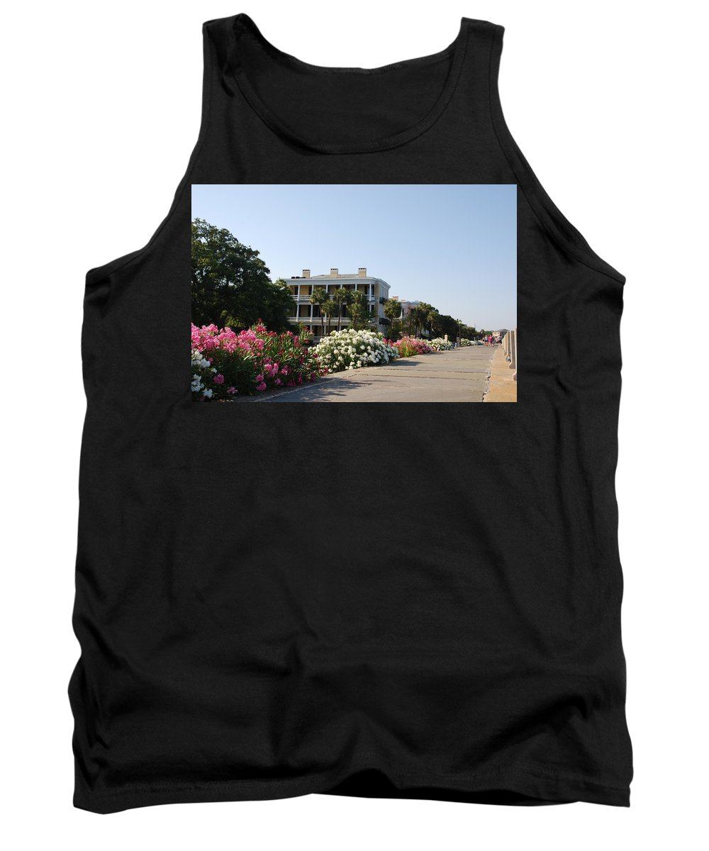 Photography Tank Top featuring the photograph The Flowers At The Battery Charleston Sc by Susanne Van Hulst