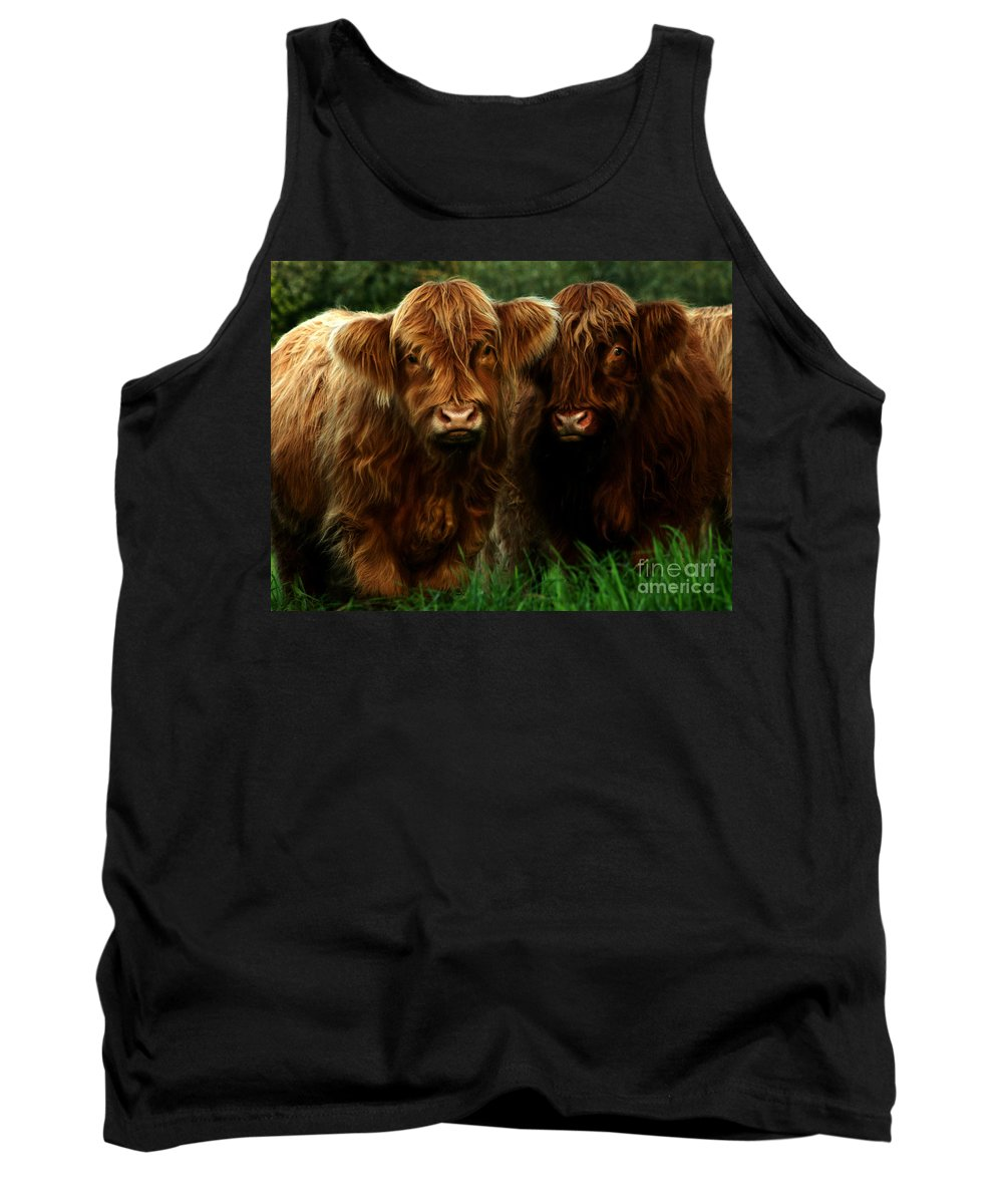 Heilan Coo Tank Top featuring the photograph The Fluffy Cows by Angel Ciesniarska
