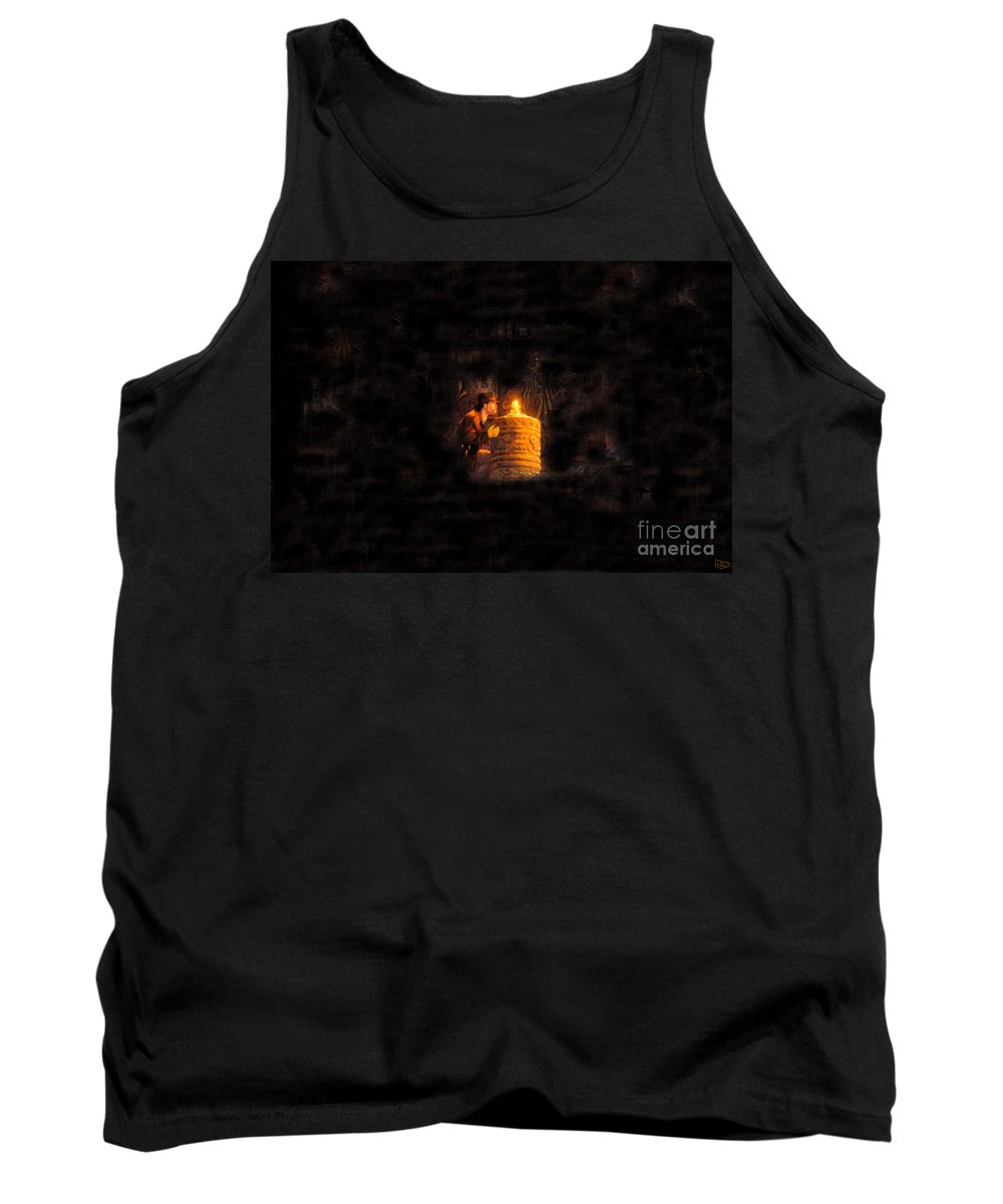 Golden Idol Tank Top featuring the painting The Golden Idol by David Lee Thompson