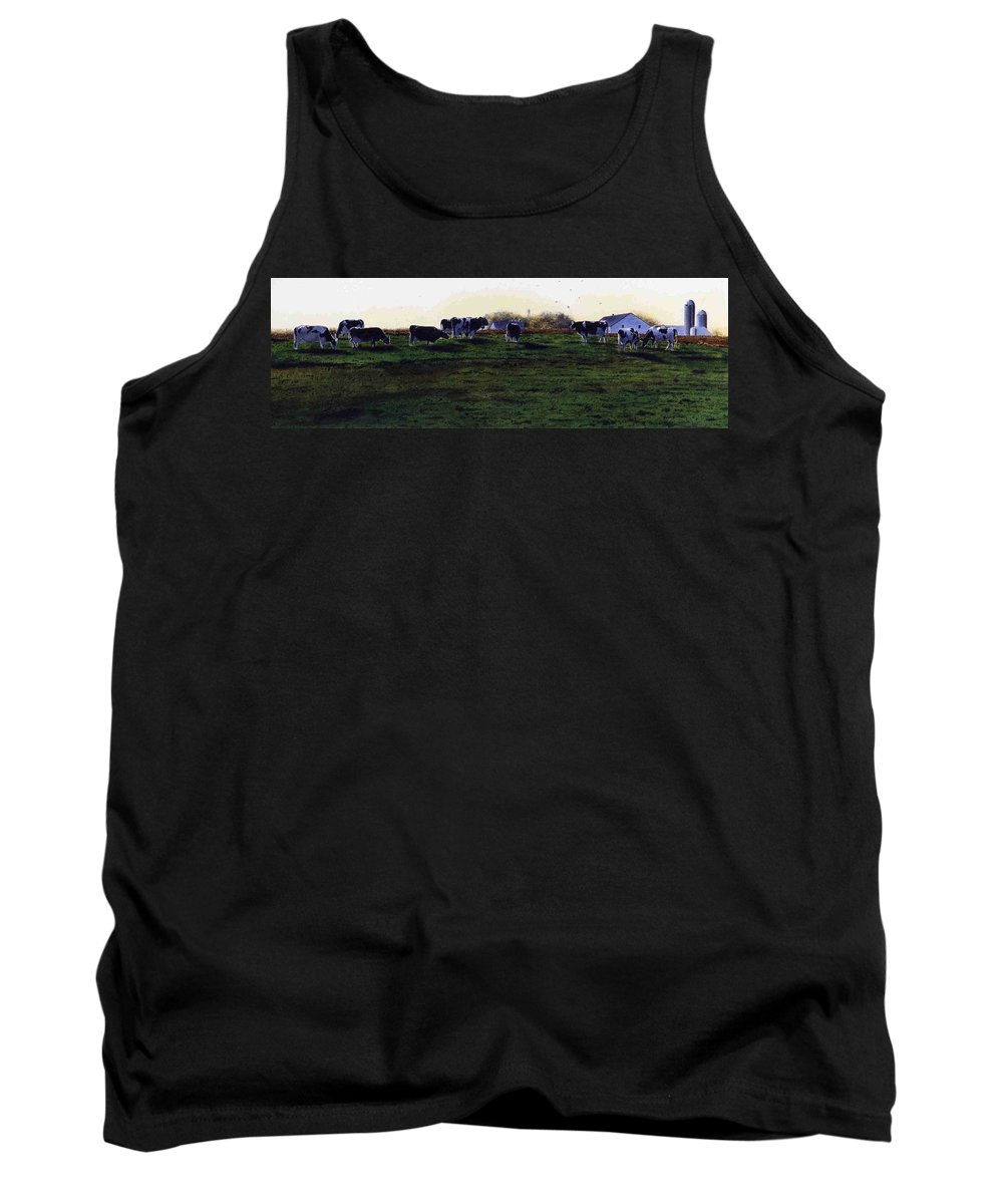 Cows Tank Top featuring the painting The Grass Is Greener by Denny Bond