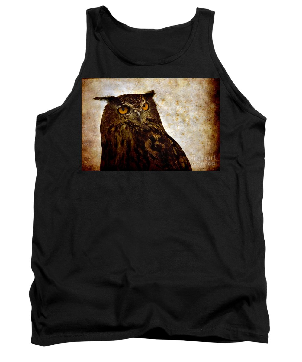 Great Owl Tank Top featuring the photograph The Great Owl by Angel Ciesniarska