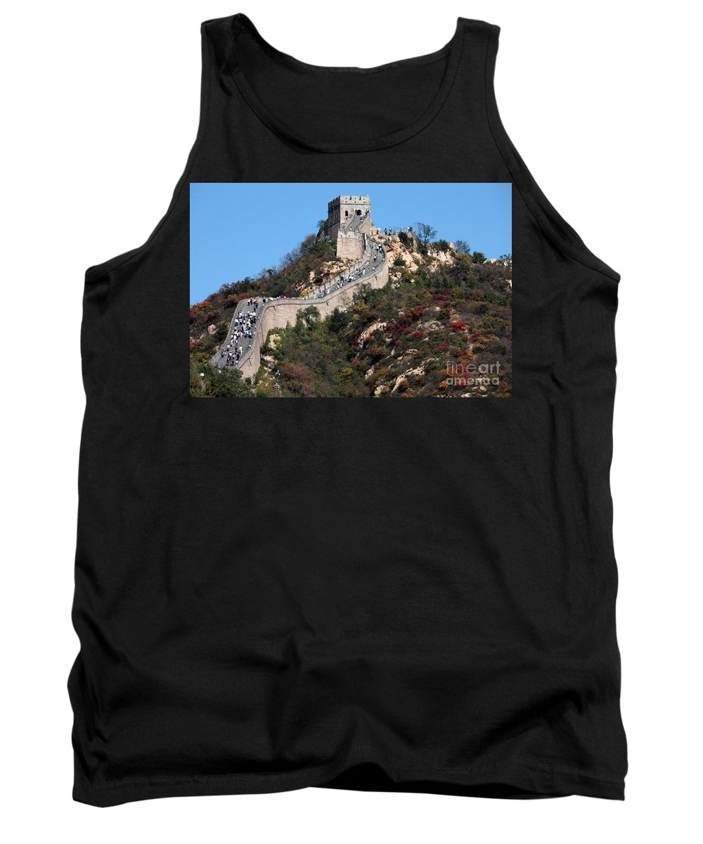 The Great Wall Of China Tank Top featuring the photograph The Great Wall Mountaintop by Carol Groenen