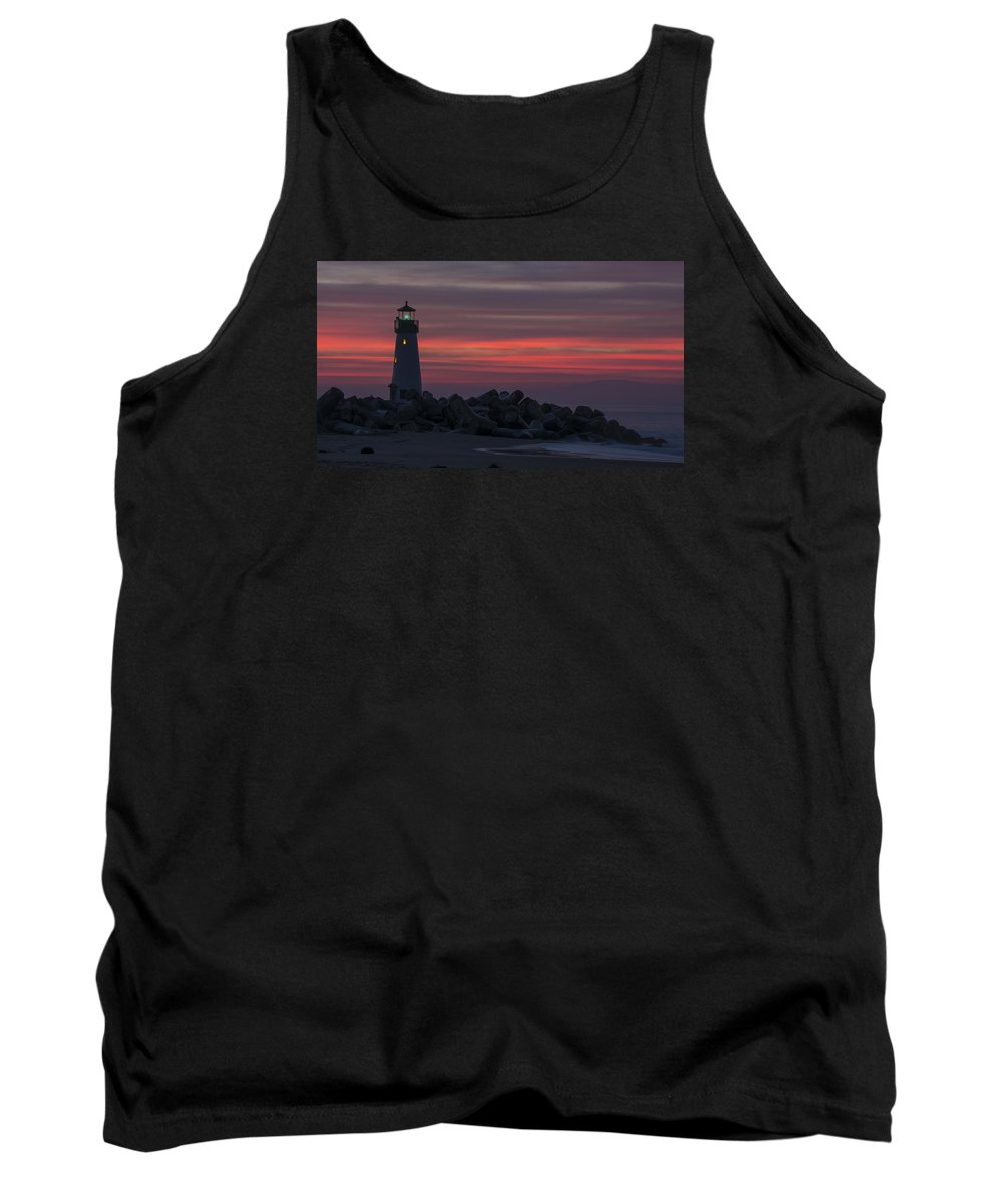 Sunrise Tank Top featuring the photograph The Harbor Light At Dawn by Bruce Frye