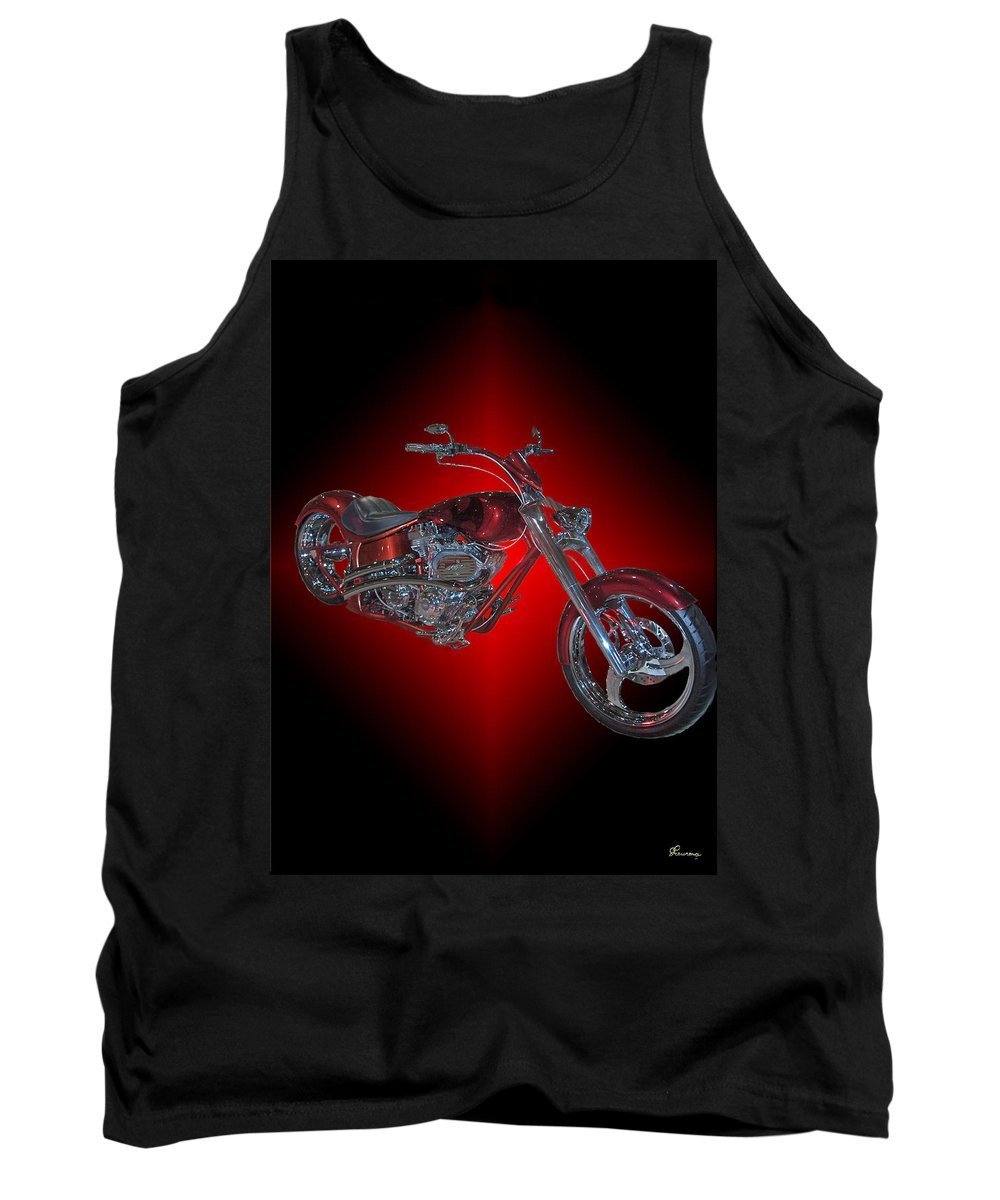 Harley Davidson Motorbike Chopper Bike Red Chrome Tank Top featuring the photograph The Harley by Andrea Lawrence