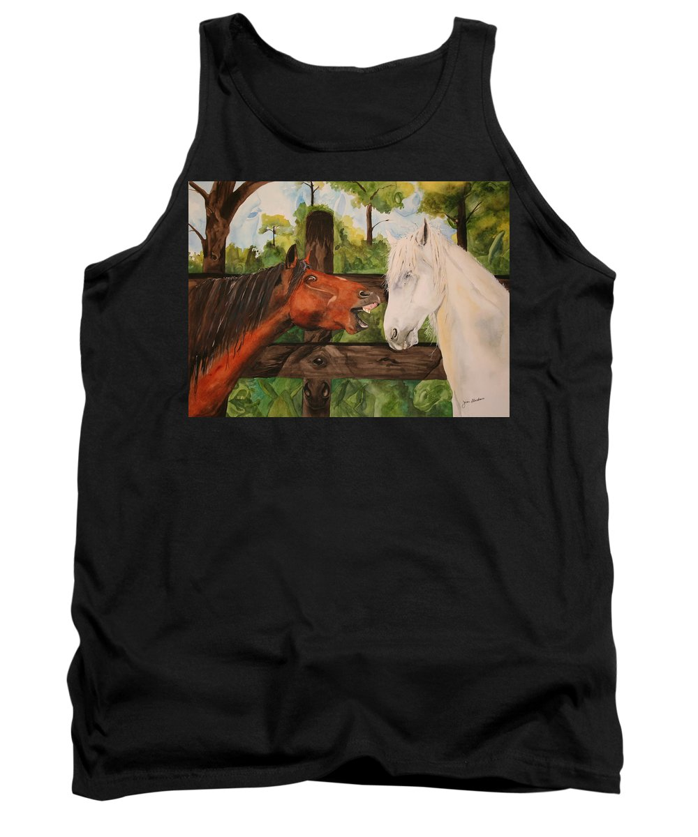 Horse Tank Top featuring the painting The Horse Whisperers by Jean Blackmer