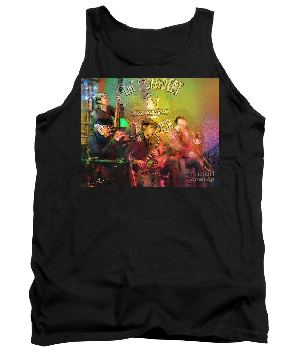 Jazz Tank Top featuring the painting The Jazz Vipers In New Orleans 02 by Miki De Goodaboom