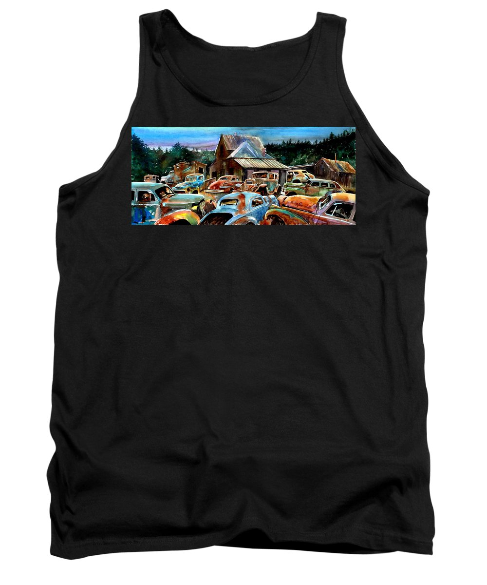 Old Cars Tank Top featuring the painting The Last Stand by Ron Morrison
