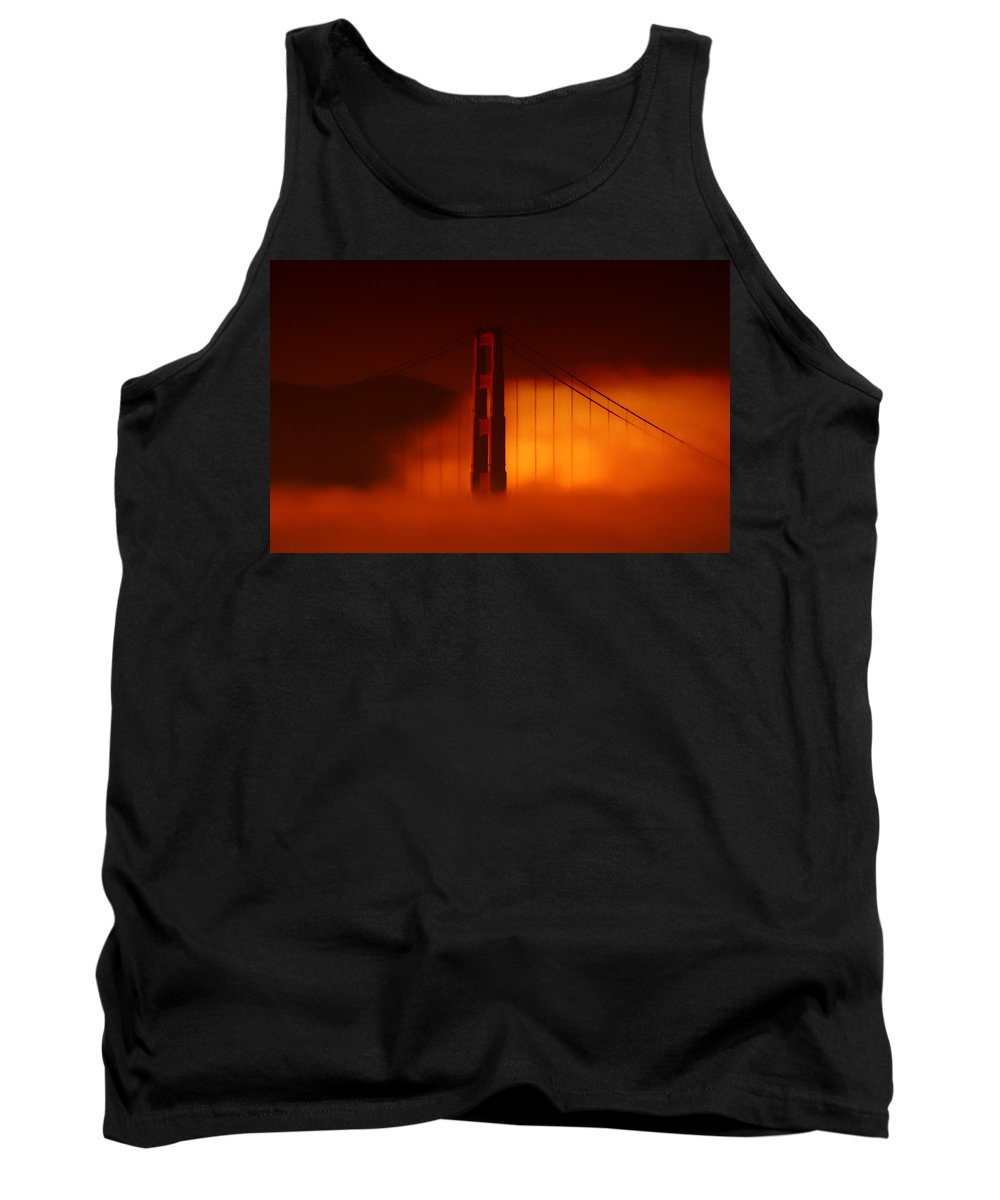 Golden Gate Bridge Tank Top featuring the photograph The Last To Fall by Donna Blackhall